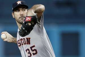 Houston Astros starting pitcher Justin Verlander (35) pitches against the Los Angeles Dodgers during the first inning of Game 6 of the World Series at Dodger Stadium on Tuesday, Oct. 31, 2017, in Los Angeles. ( Brett Coomer / Houston Chronicle )