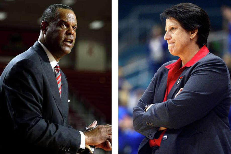 Lamar men's basketball coach Tic Price, left, and women's basketball coach Robin Harmony.