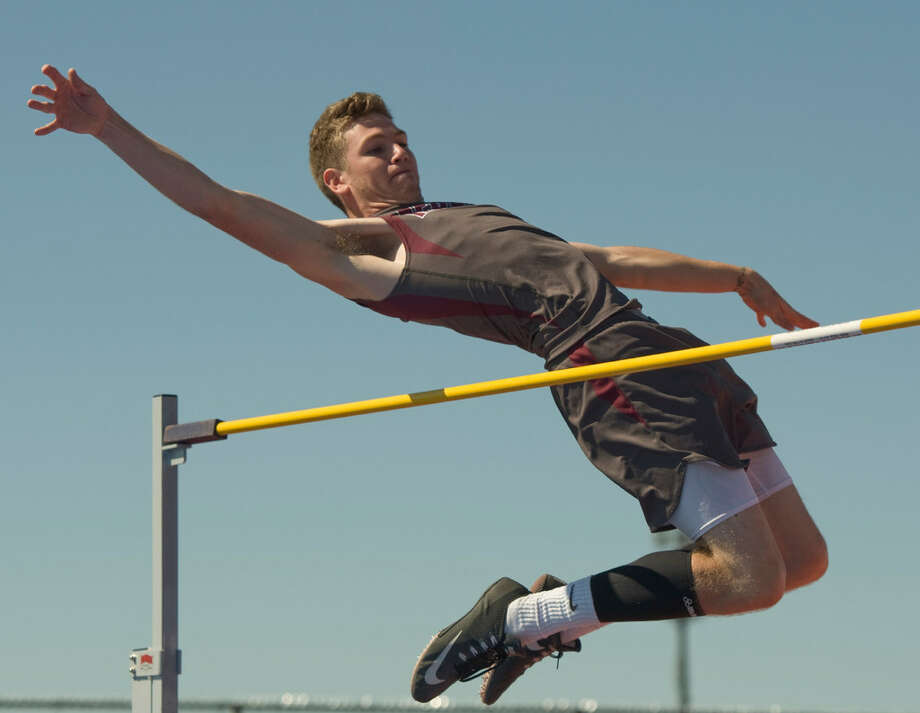 Lee's Denim Rogers attempts the high jump Thursday 04-14-16 in the District 3-6A Track and Field Championships at Ratliff Stadium. Tim Fischer\Reporter-Telegram