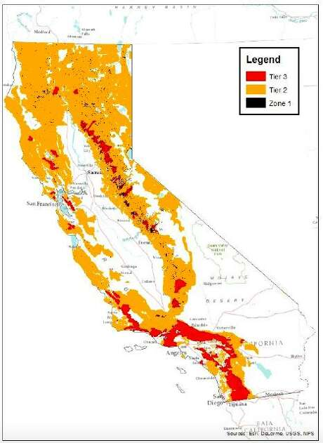 A map shows areas of normal, high, and extreme fire risk. Photo: Screenshot From CPUC