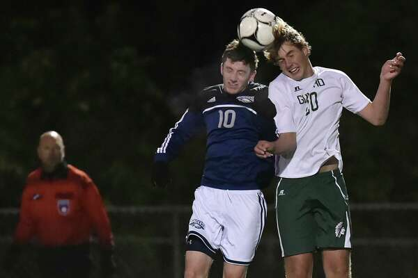 Guilford ousts Wethersfield, 4-2, in the second round of the Class L boys state soccer tournament, Wednesday, Nov. 8, 2017, at the Kavanaugh Complex at Guilford High School.