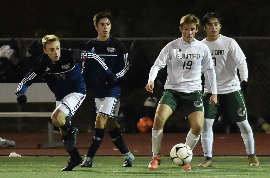 Guilford ousts Wethersfield, 4-2, in the second round of the Class L boys state soccer tournament, Wednesday, Nov. 8, 2017, at the Kavanaugh Complex at Guilford High School. Photo: Catherine Avalone, Hearst Connecticut Media / New Haven Register