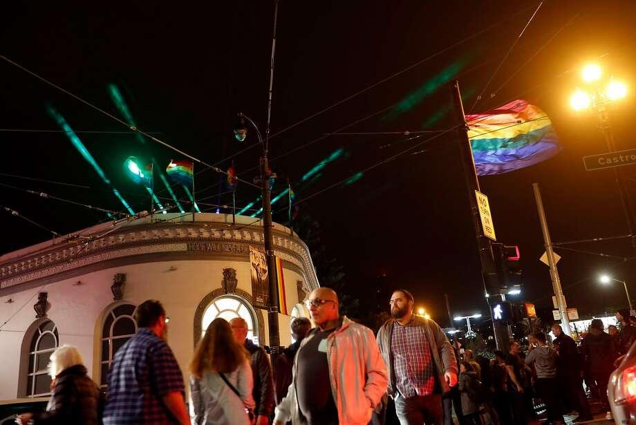 """Harvey's Halo"" illuminates the sky above Harvey Milk Plaza to celebrate the 40th anniversary of his election to the Board of Supervisors. Photo: Scott Strazzante, The Chronicle"