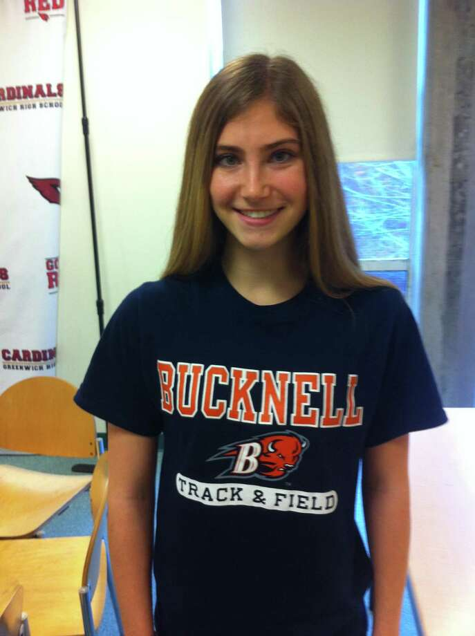 Lia Zavattaro, a Greenwich High School senior, signed a National Letter of Intent to compete on the track and field team at Bucknell University. Photo: David Fierro /Hearst Connecticut Media