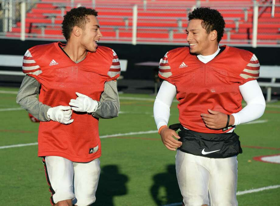 Glens Falls football running backs and brothers Ailijah, left, and Aaron Sampson during practice Wednesday Nov. 8, 2017 in Glens Falls, NY.  (John Carl D'Annibale / Times Union) Photo: John Carl D'Annibale / 20042071A