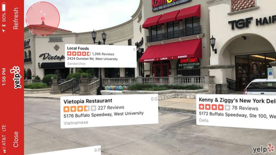 The Monocle feature on the Yelp mobile app - which was first introduced in 2009 - shows Vietopia and Kenny & Ziggy's at Buffalo Speedway and Westpark. Photo: Chronicle Screenshot
