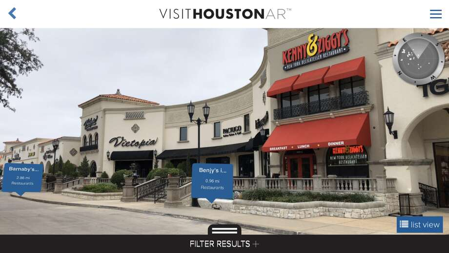 The Visit Houston AR app for now only focuses on downtown and some surrounding neighborhoods. This screenshot shows Vietopia and Kenny & Ziggy's at Buffalo Speedway and Westpark, but the app doesn't recognize them. A Houston First spokesperson said that will change in coming weeks. Photo: Chronicle Screenshot