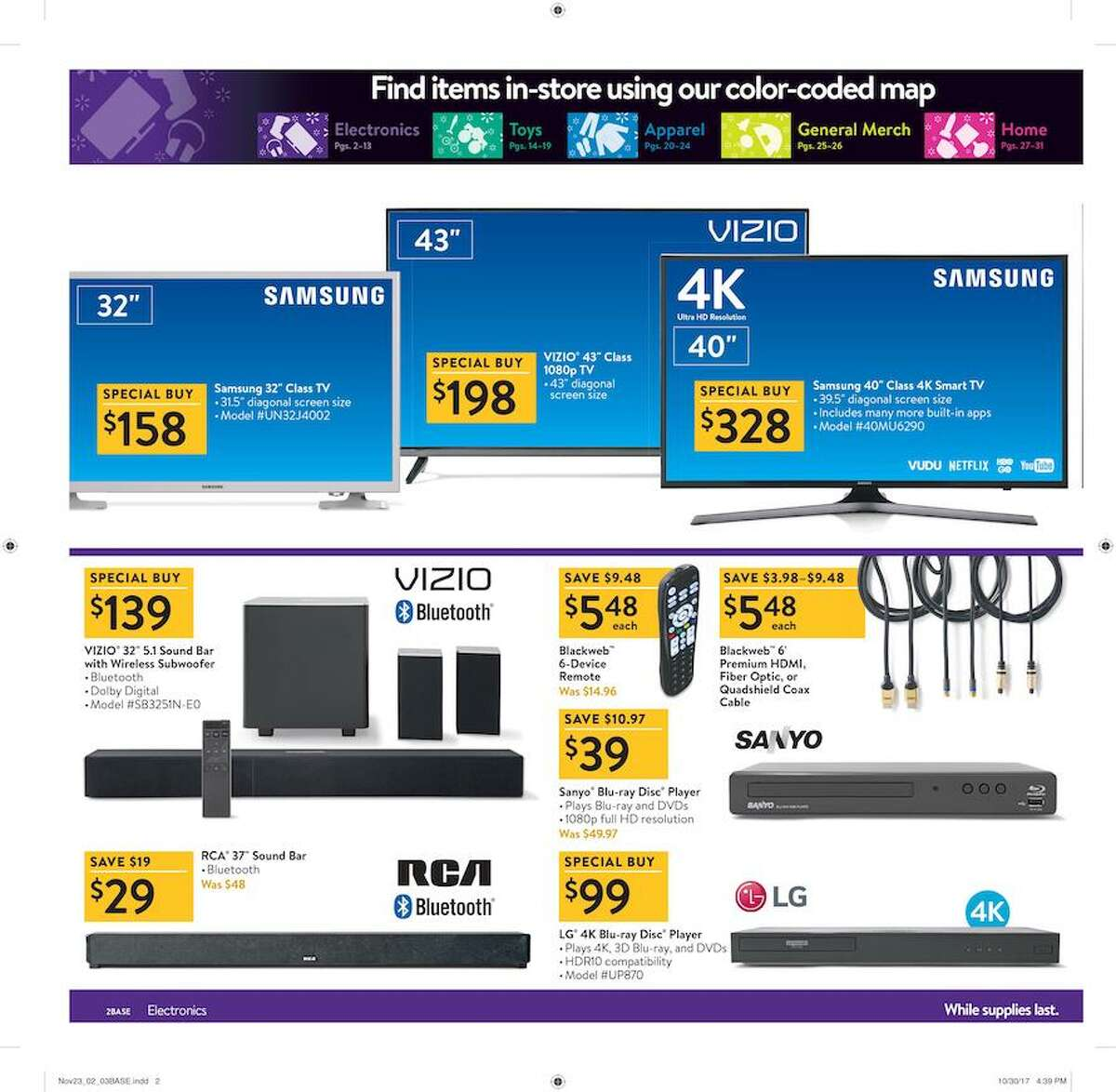 Walmart released their 2017 Black Friday ad circular and its 32 pages are packed with some of the season's top deals.