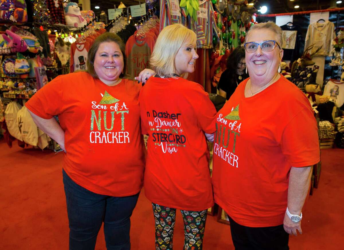 Kara Fitzgerald, Stephanie Spurlock and Patricia Williams at the Wells Fargo Preview Party for the Houston Ballet Nutcracker Market on Wednesday, Nov. 8, at NRG in Houston.