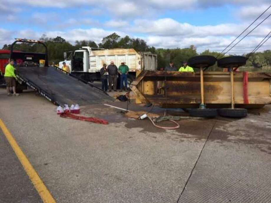 HazMat crews have been called to clean up a diesel spill on U.S. 96 southbound at the Neches River in Jasper County. Photo provided by DPS.