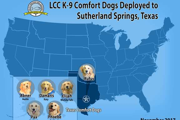 Abner, Damaris, Elijiah, Pax, Phoebe, and Rufus were deployed to bring comfort to those affected by the Sutherland Springs Tragedy.  @k9comfort