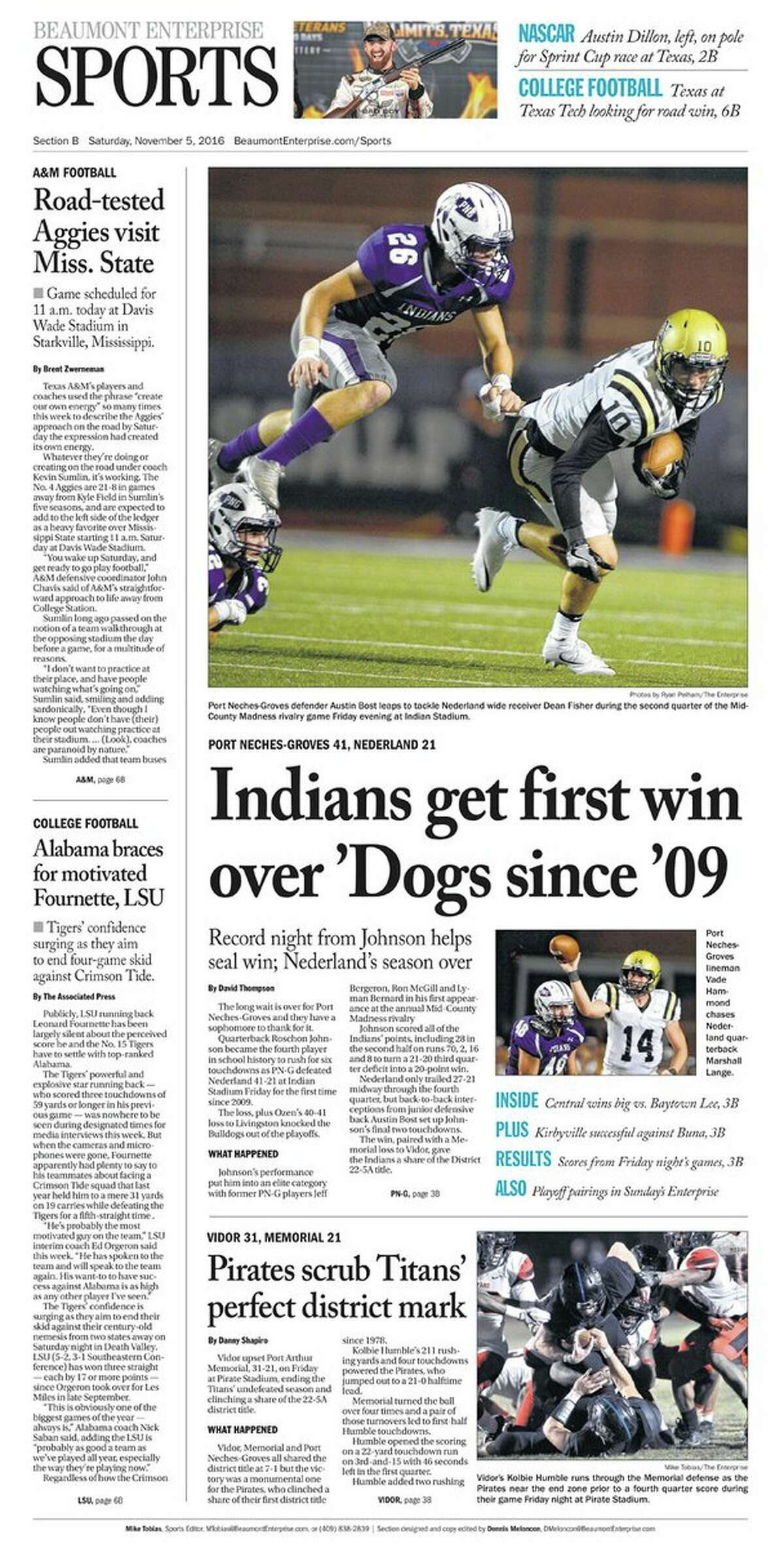 High School Football: 2016 Mid-County Madness sports cover. PN-G 41, Nederland 21.