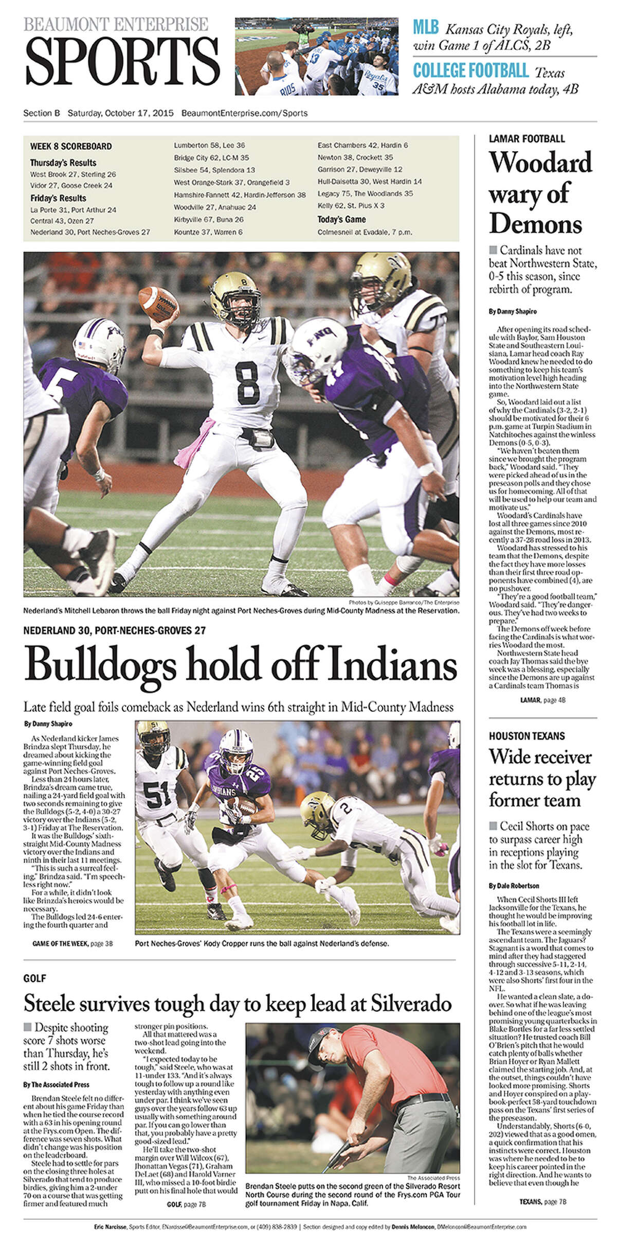 High School Football: 2015 Mid-County Madness sports cover. Nederland 30, PN-G 27.