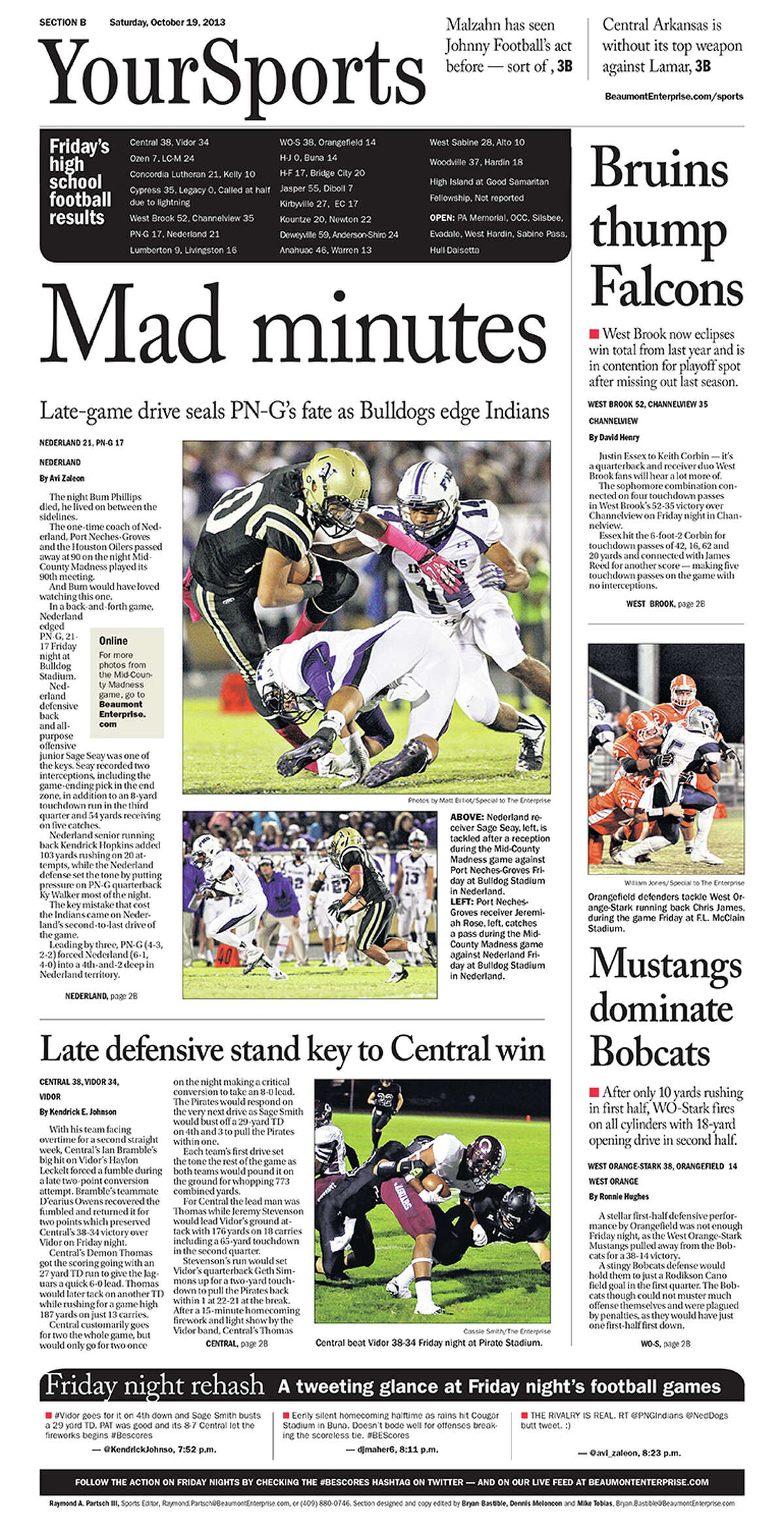 High School Football: 2013 Mid-County Madness sports cover. Nederland 21, PN-G 17.