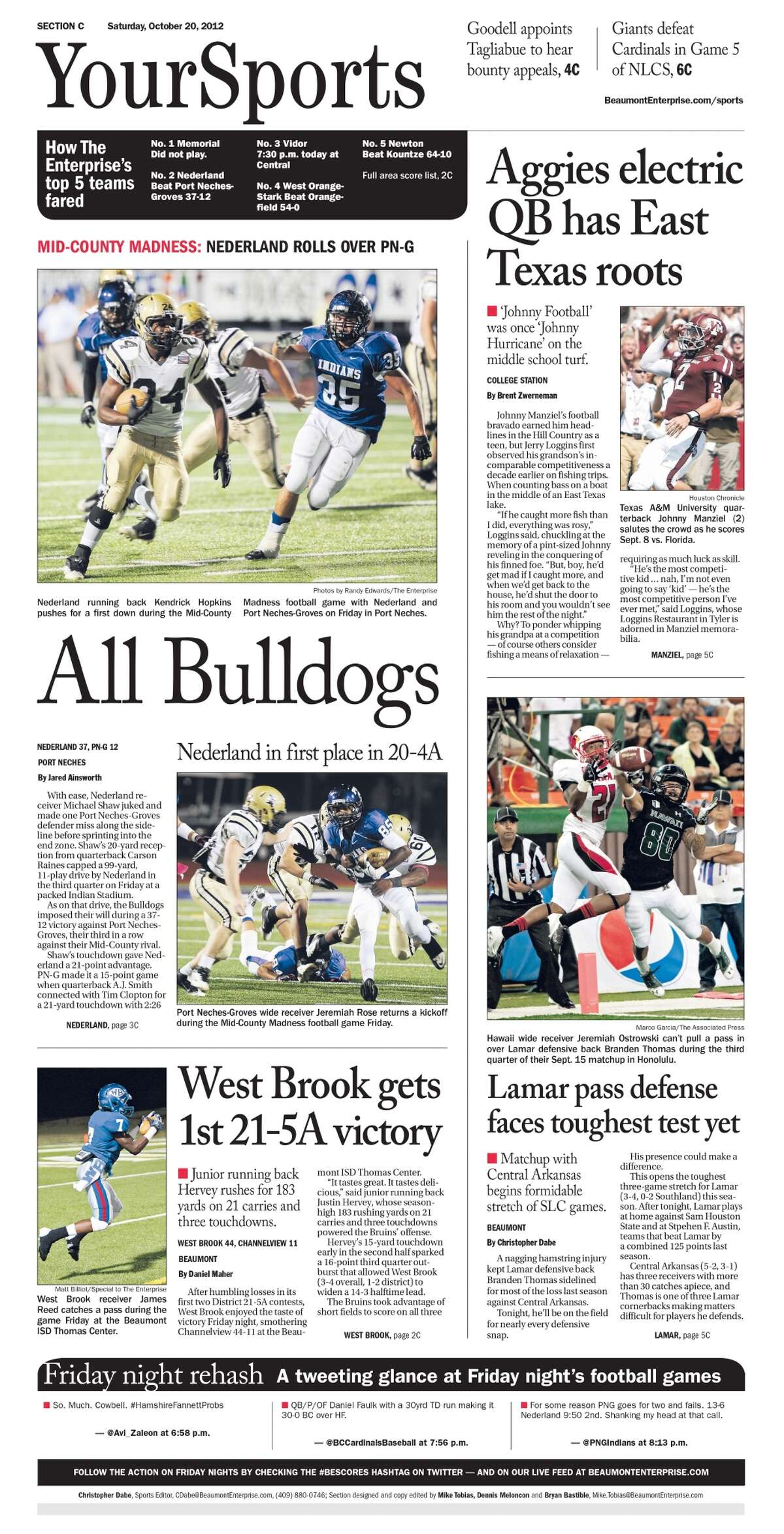High School Football: 2012 Mid-County Madness sports cover. Nederland 37, PN-G 12.