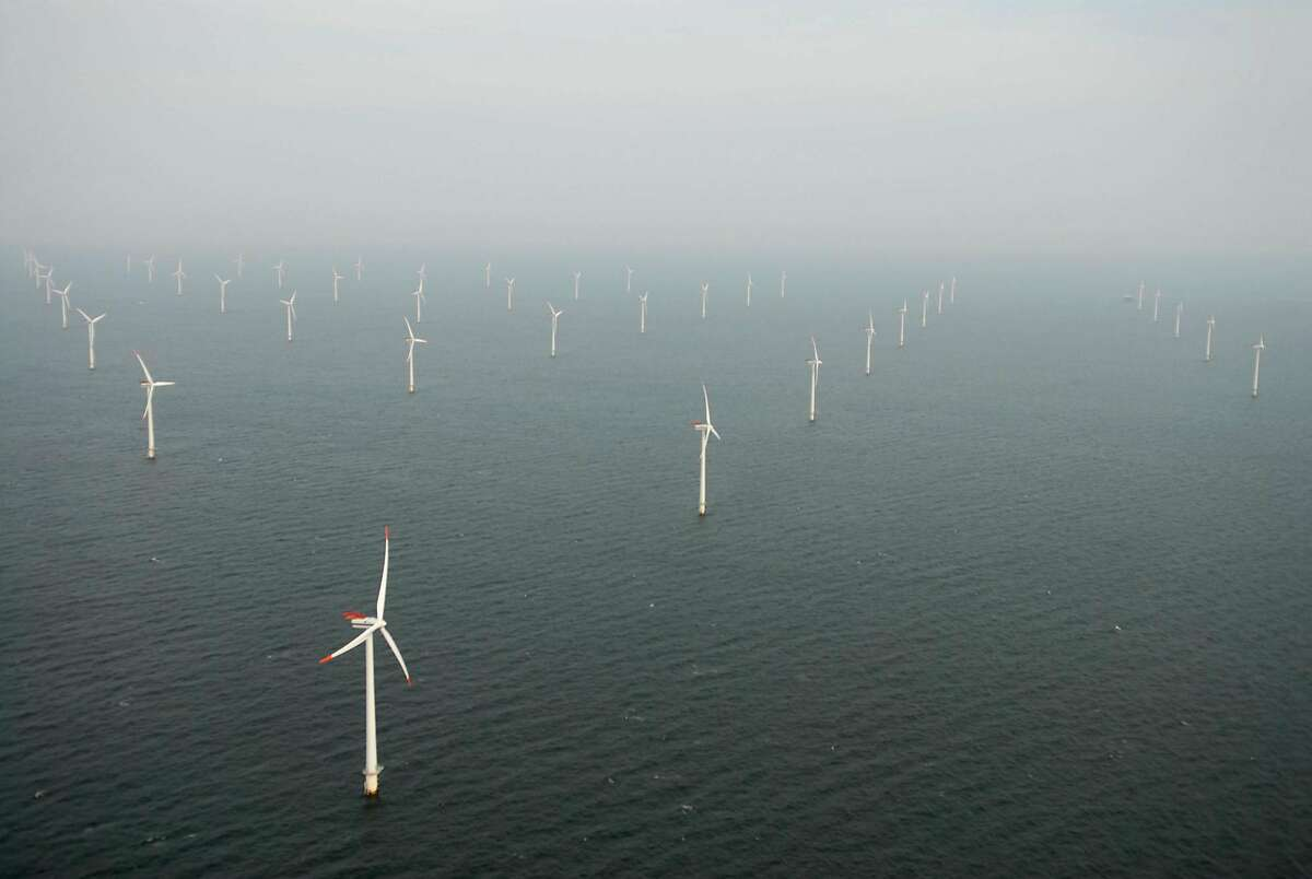 This undated handout photo provided by Bluewater Wind shows Horns Rev Offshore Wind Farm, located in the North Sea west of Denmark.