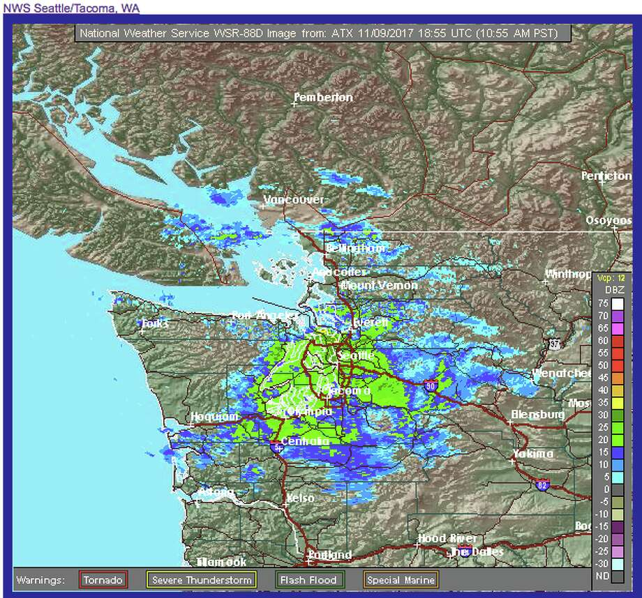 Radar from the National Weather Service shows rain and snow falling around the region. Expect the rain to taper off Friday in the Seattle area before returning Sunday. Photo: National Weather Service