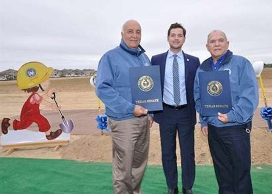 United ISD school board President Juan Roberto Ramirez and Superintendent Roberto J. Santos were joined by district administrators and students from Salinas Elementary and United South Middle schools to break ground Wednesday on elementary school No. 30. Photo: Courtesy