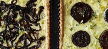 Leek & Goat Cheese Tart With Cabernet Onions.