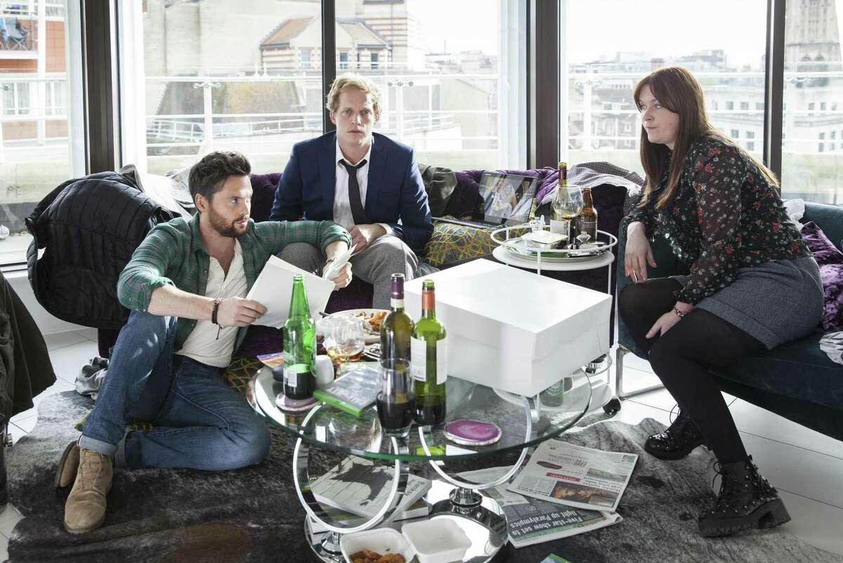 """The three very different friends at the heart of darkly funny gem """"Ill Behaviour"""" on Showtime: Charlie (Tom Riley, left), Joel (Chris Geere) and Tess (Jessica Regan)."""