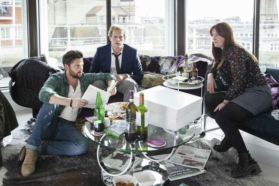 """The three very different friends at the heart of darkly funny gem """"Ill Behaviour"""" on Showtime: Charlie (Tom Riley, left), Joel (Chris Geere) and Tess (Jessica Regan). Photo: Jon Hall /Courtesy Showtime / Copyright:  Fudge Park Too Ltd. 2016"""