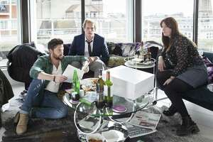 "The three very different friends at the heart of darkly funny gem ""Ill Behaviour"" on Showtime: Charlie (Tom Riley, left), Joel (Chris Geere) and Tess (Jessica Regan)."