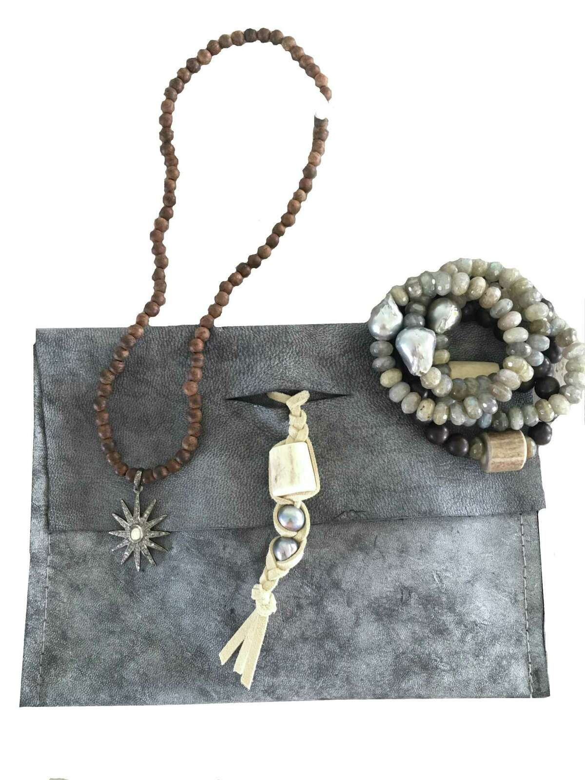 Houston designer Page Gregory Matthews makes leather bags and jewelry.