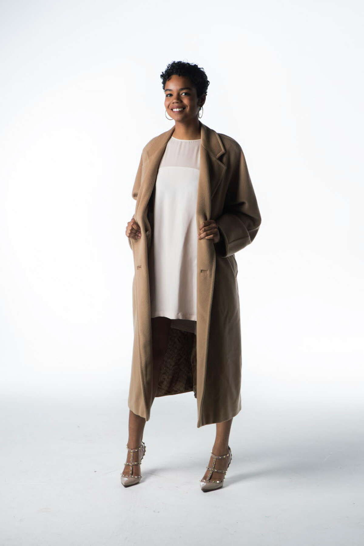 Jailyn Marcel models Max Mara's iconic 101801 coat.