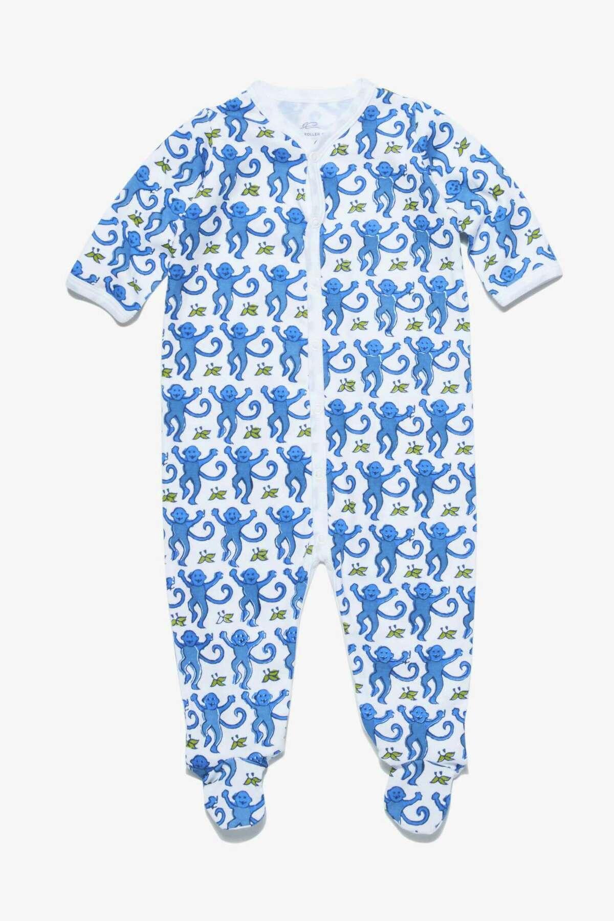 Hand-blocked monkey print infant snap suit; $55 at Roller Rabbit, River Oaks District