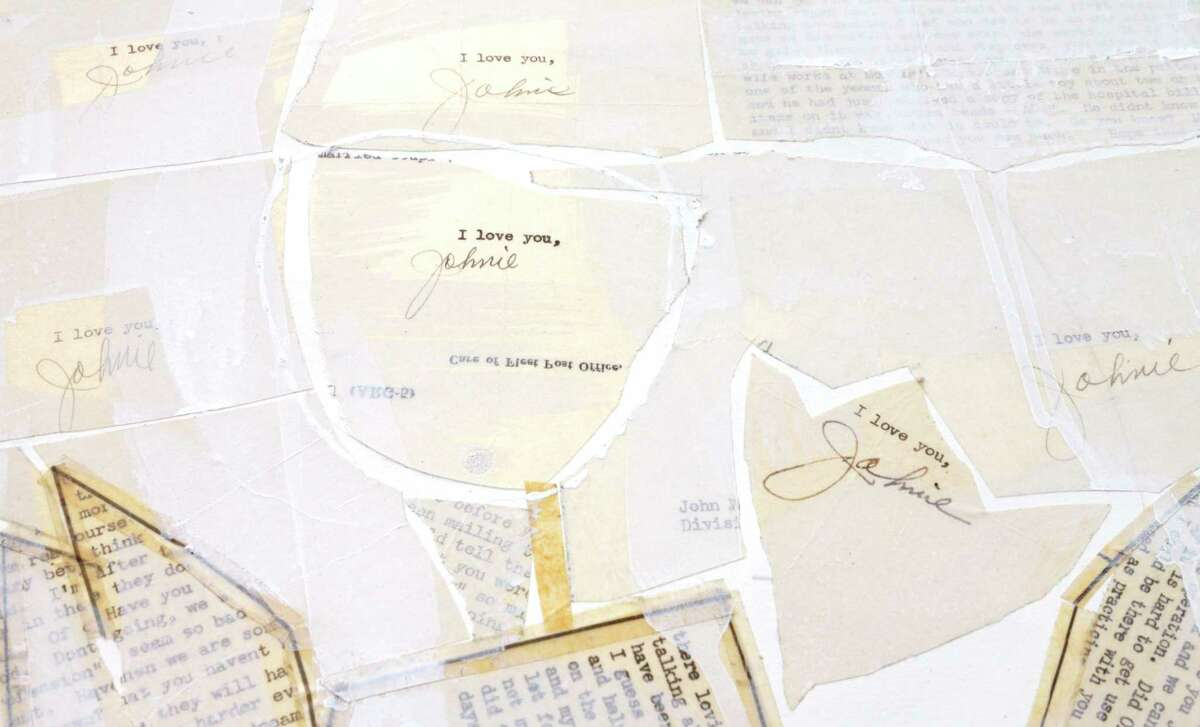 """A detail of """"I Love You, Johnie"""", a work in progress by Karin Broker from the actual love letters sent home of a WWII veteran."""