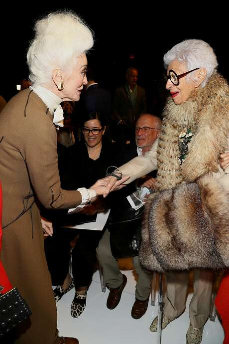 Model Carmen Dell'Orefice (left) and Iris Apfel are at the forefront of older women rocking print ads and the runway. Photo: Astrid Stawiarz, (Credit Too Long, See Caption)