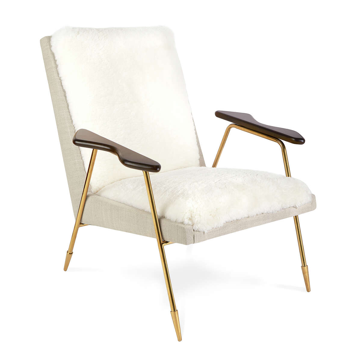 Jonathan Adler's Ingmar chair is a fusion of form and function, with sculpted wooden arms, a brass frame, linen sides and back and a seat of shearling. $2,250; Jonathan Adler stors or jonathanadler.com