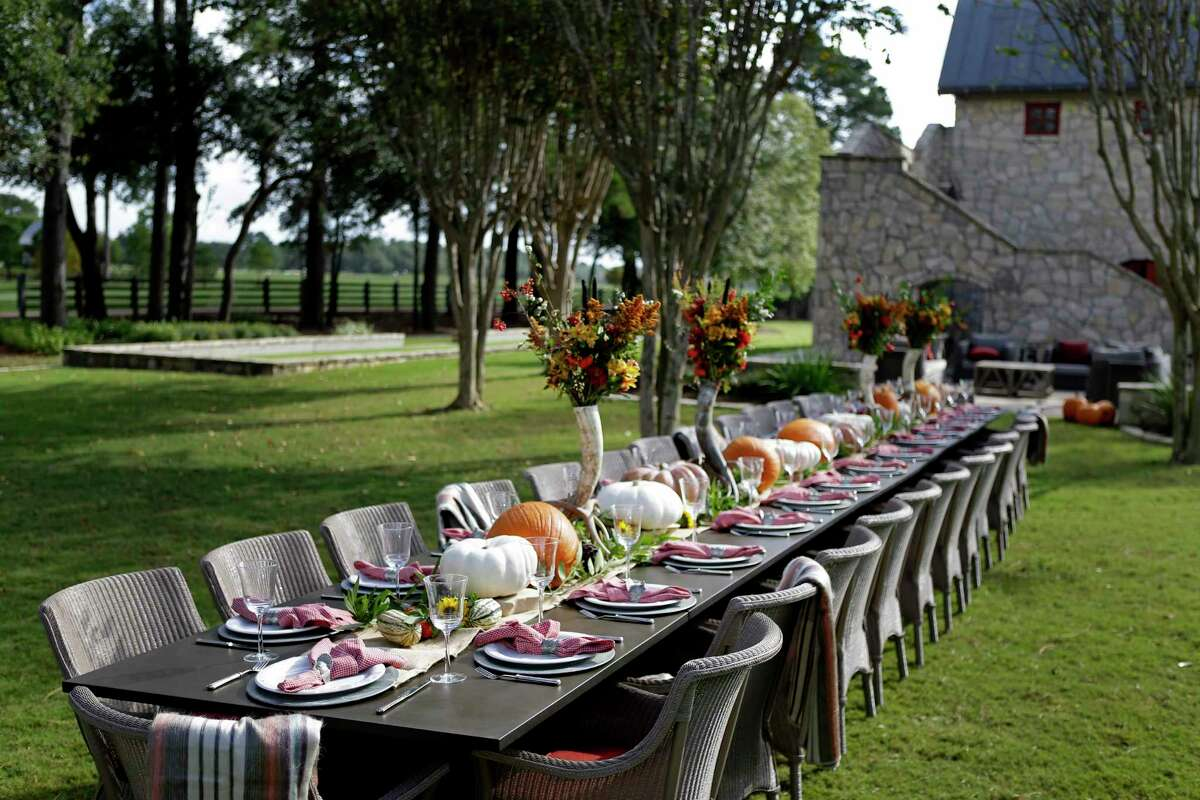 The Tuckers planned a Thanksgiving dinner for 35. Photo styled by Lucas-Eilers Design Associates; dinnerware provided by Kuhl-Linscomb