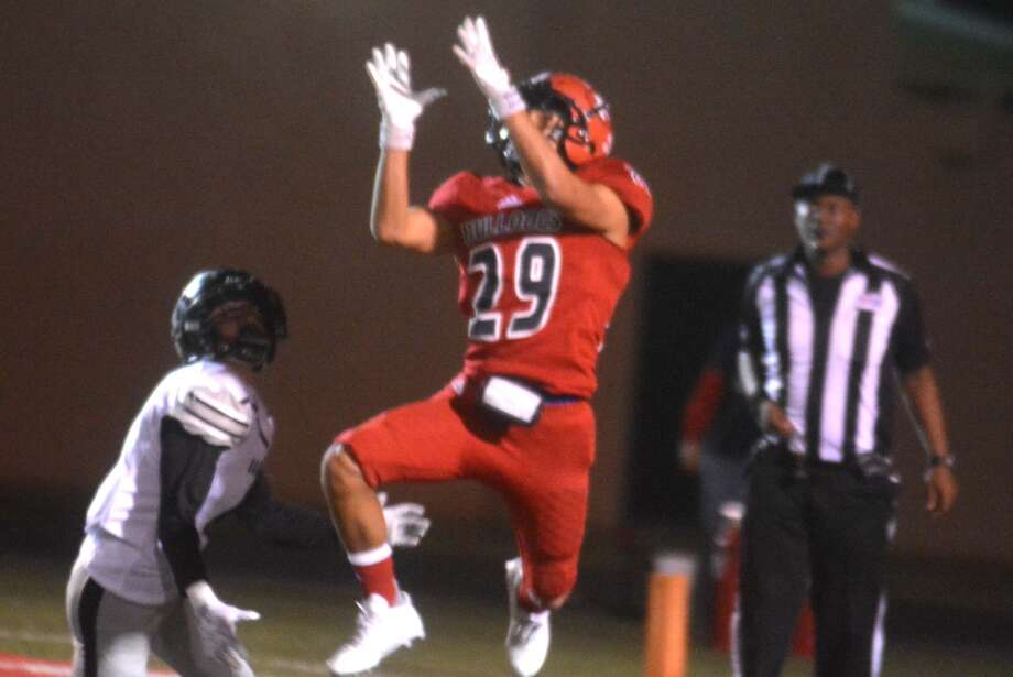 Plainview's Gustavo Garcia intercepts a pass in the end zone against Randall last week. Photo: Skip Leon/Plainview Herald