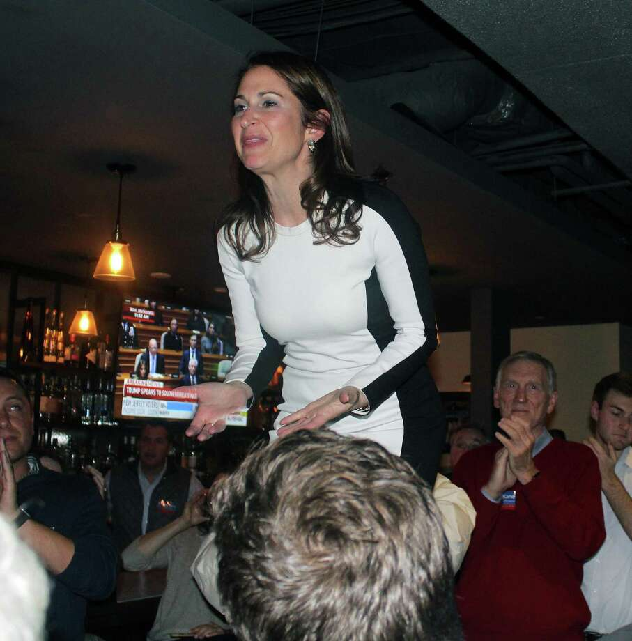 Democratic First Selectman candidate Melissa Kane speaks to a crowd of Westport Democrats at The 'Port restauraunt after hearing she lost to Incumbent Republican Jim Marpe on election night, Nov. 7. Photo: Sophie Vaughan/Hearst Connecticut Media