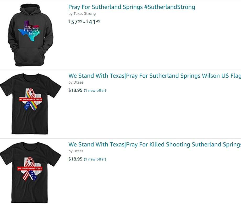 T-shirts and sweatshirts are for sale just four days after the Sutherland Springs church shooting on Nov. 5, 2017.  Photo: Screengrab
