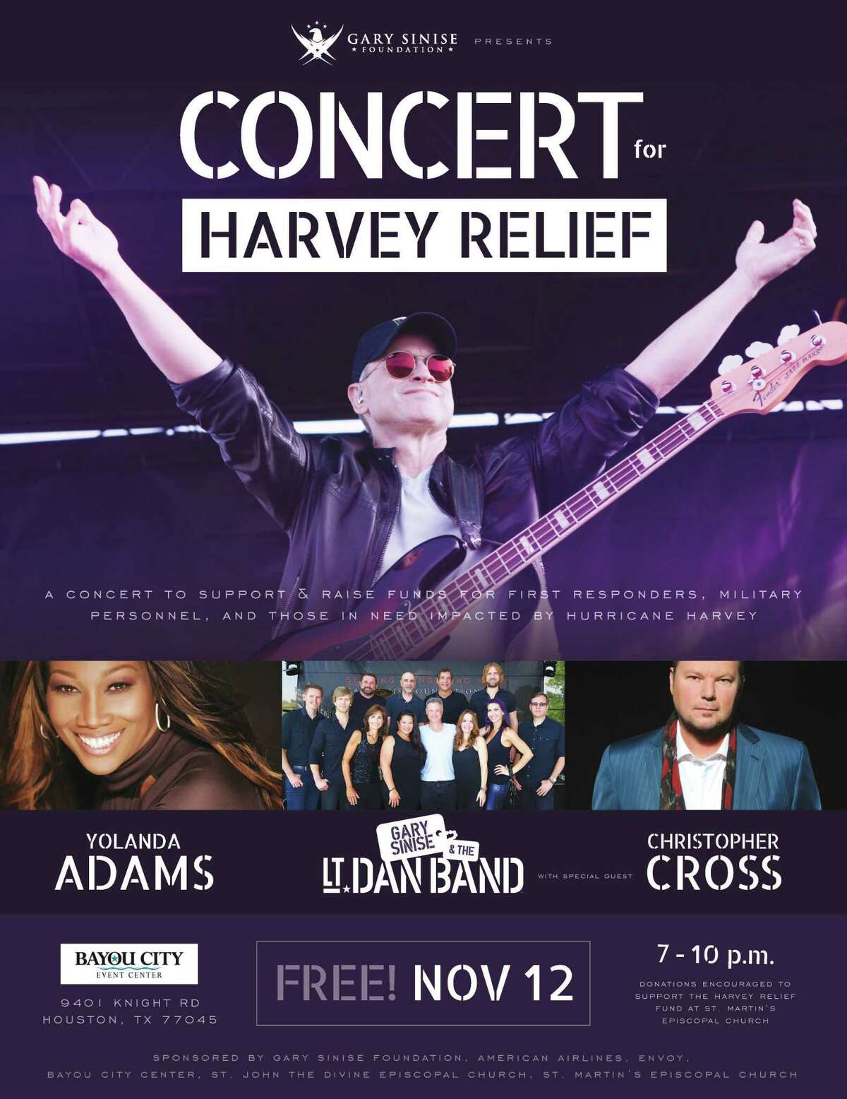 The Lt. Dan Band, Yolanda Adams, and Christopher cross will perform at the Bayou City Event Center on Sunday at a benefit concert for St. Martin's Episcopal Church's Harvey Relief Fund.