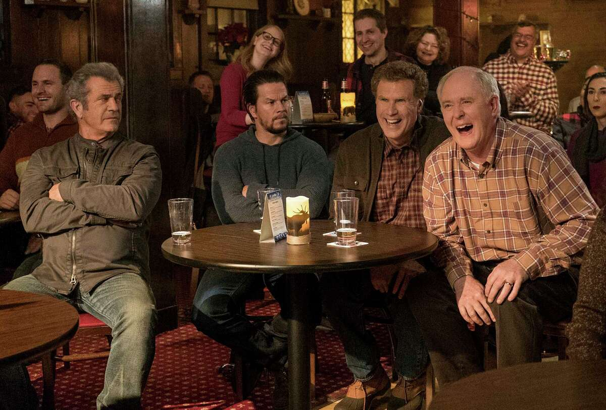 This image released by Paramount Pictures shows Mel Gibson, from left, Mark Wahlberg, Will Ferrell and John Lithgow in