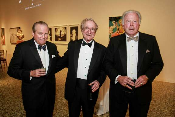 Patrick Oxford, from left, Harry Reasoner and Steve Adger at One Great Night in November, MFAH's annual men-only event at the Museum of Fine Art Houston.   (For the Chronicle/Gary Fountain, November 8, 2017)