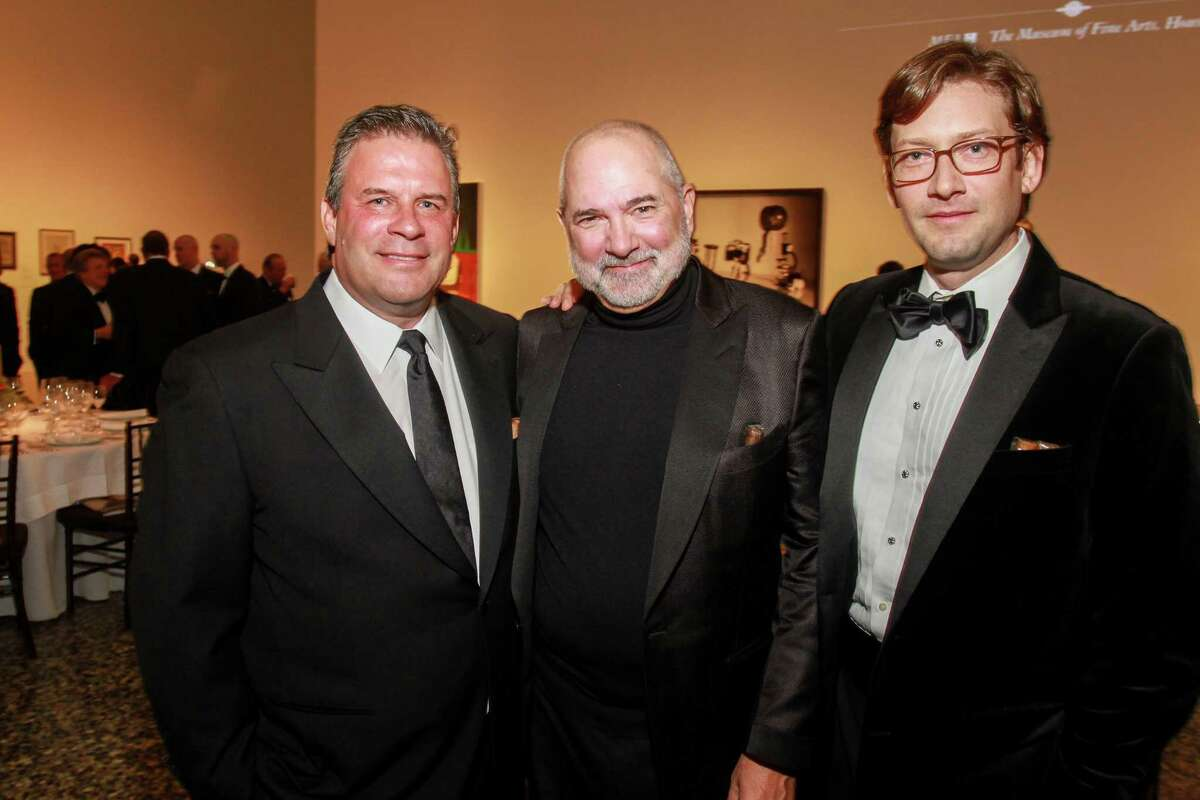 Bo Collins, Jr., from left, Bob Cavnar and Jeff Kleinops at One Great Night in November, MFAH's annual men-only event at the Museum of Fine Art Houston. (For the Chronicle/Gary Fountain, November 8, 2017)