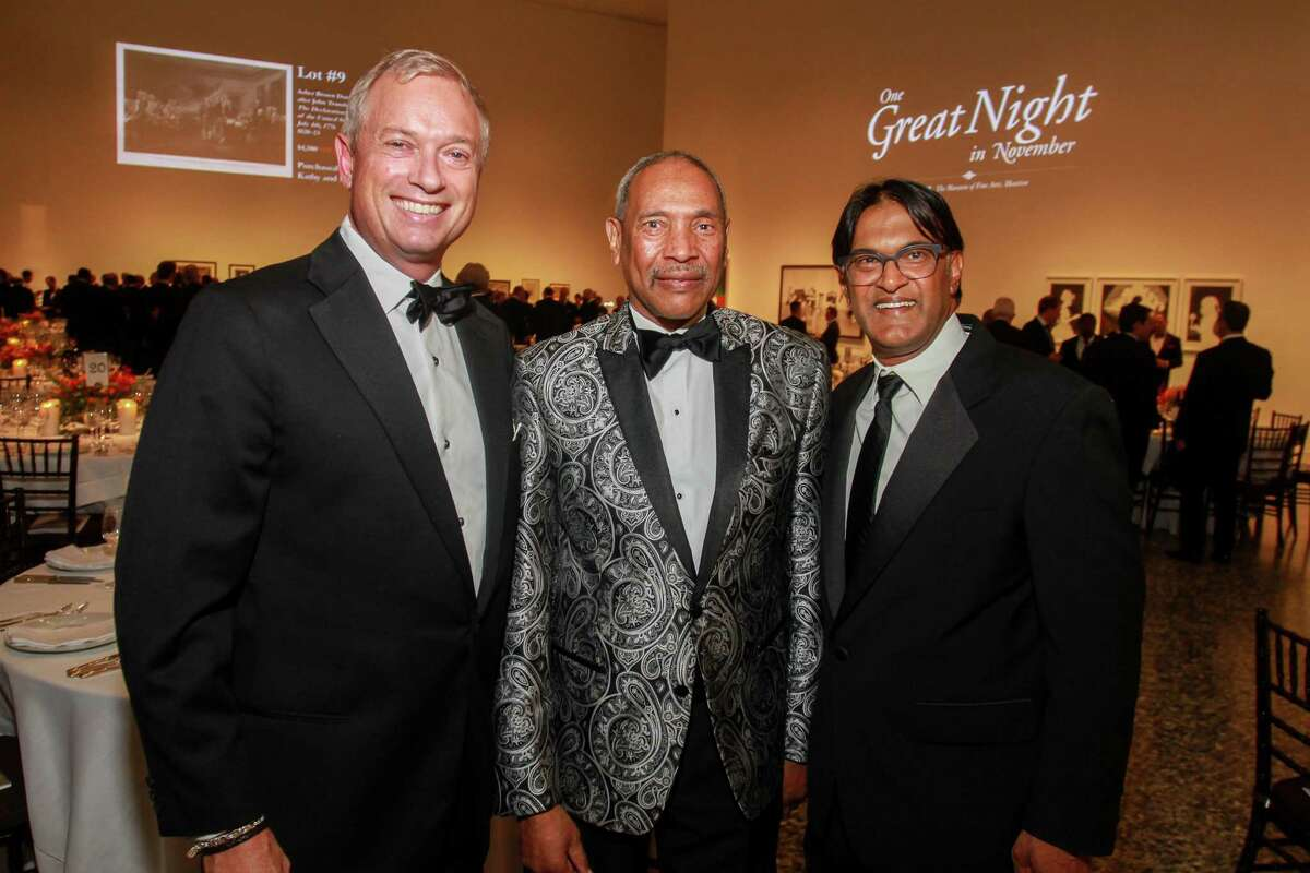 Scott Bayley, from left, John Guess Jr., and Ramesh Krishnan at One Great Night in November, MFAH's annual men-only event at the Museum of Fine Art Houston. (For the Chronicle/Gary Fountain, November 8, 2017)