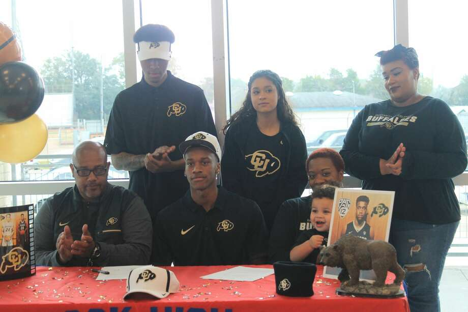 West Brook's Elijah Parquet signed to play basketball at the University of Colorado on Wednesday. Photo: West Brook HS