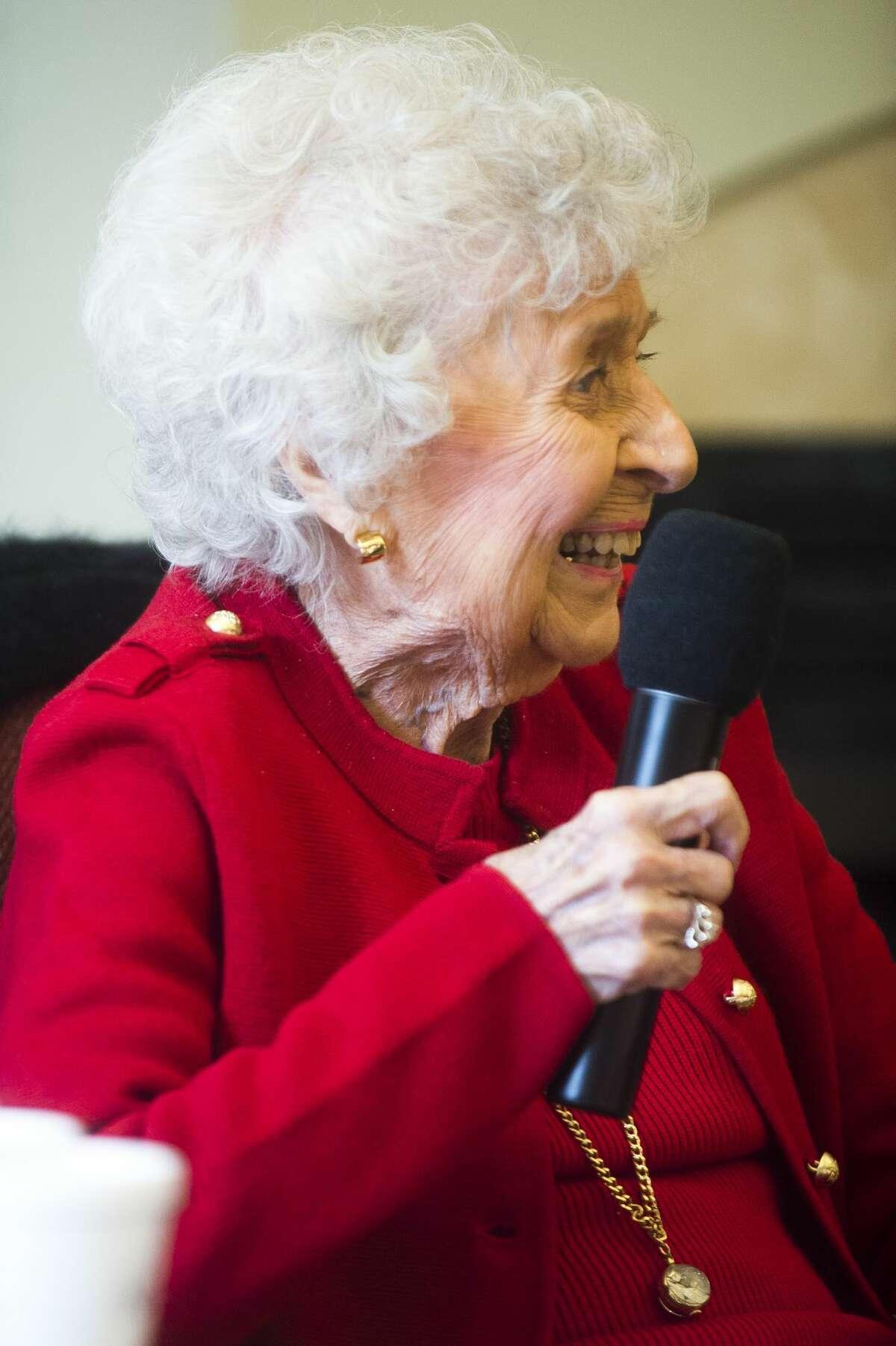 Rhea Currie, 101, speaks during a conversation between a panel of four Midland centenarians on Thursday, Nov. 9, 2017 at the Herbert D. Doan Midland County History Center. (Katy Kildee/kkildee@mdn.net)