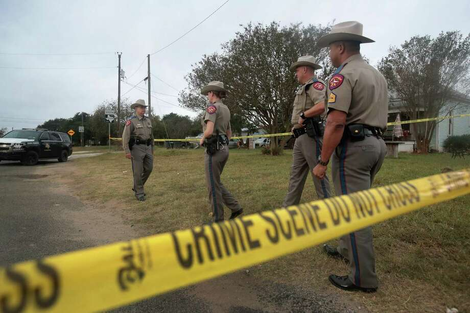 Law enforcement officials investigate the shooting at the First Baptist Church in Sutherland Springs, which killed 26 people and wounded 20 more when a gunman opened fire during a Sunday service. Readers discuss the tragedy — and what can be done to prevent future tragedies. Photo: Scott Olson /Getty Images / 2017 Getty Images