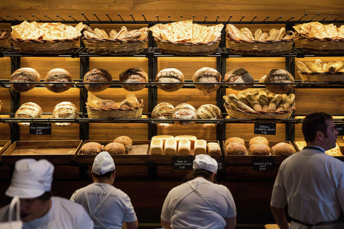 A wall of fresh bread at Rocco Princi's new bakery at Starbucks Reserve Roastery in Capitol Hill on Thursday, Nov 8, 2017.