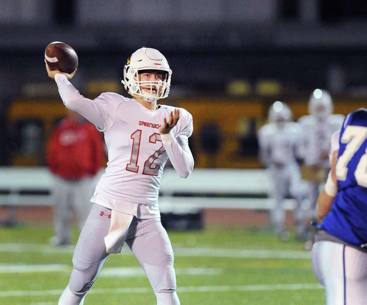 Greenwich quarterback Gavin Muir passes during the high school football game between Fairfield Ludlowe High School and Greenwich High School at Fairfield Ludlowe High School, Conn., Friday night, Oct. 27, 2017.