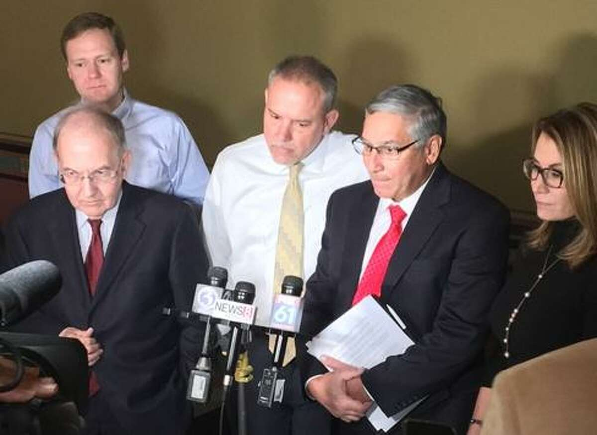 Sens. Martin Looney and Len Fasano and House Speaker Joe Aresimowicz, House Majority Leader Matt Ritter, and House Minority Leader Themis Klarides.