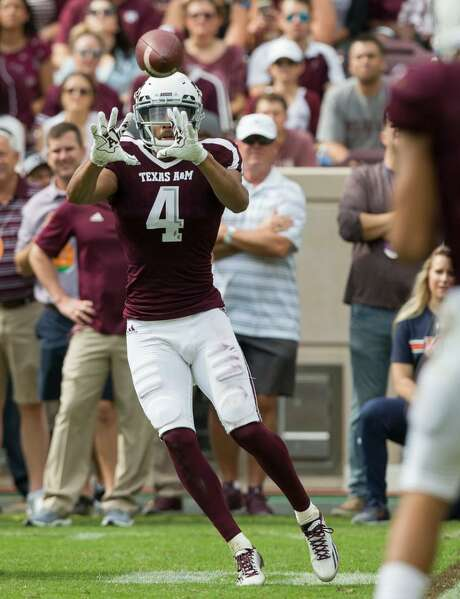 Texas A&M wide receiver Damion Ratley catches a pass against Auburn during a Nov. 4, 2017 game in College Station, Texas. Photo: Sam Craft /AP Photo