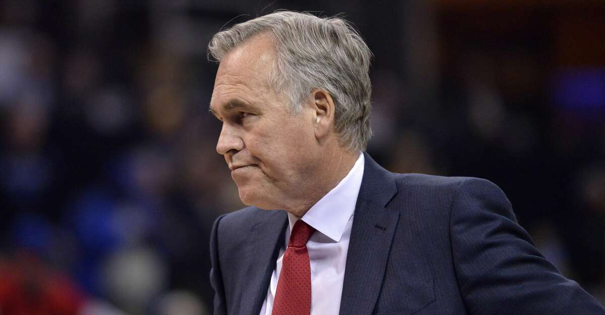 Houston Rockets head coach Mike D'Antoni stands on the court in the first half of an NBA basketball game against the Memphis Grizzlies Saturday, Oct. 28, 2017, in Memphis, Tenn. (AP Photo/Brandon Dill)