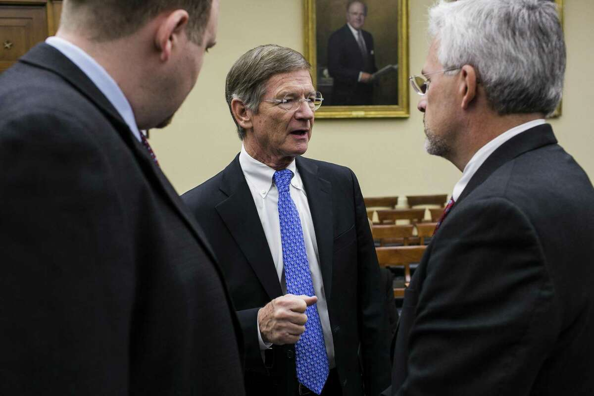 FILE -- Rep. Lamar Smith (R-Texas) before a hearing held by the House Committee on Science, Space and Technology in Washington, Nov. 19, 2013. Smith sent a letter on Wednesday May 19, 2016 to Eric Schneiderman, attorney general of New York, demanding all communications since 2012 between his office and climate change activist organizations. (T.J. Kirkpatrick/The New York Times)